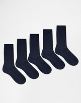 Asos Waffle Socks 5 Pack In Navy SAVE