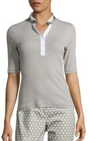 Peserico Cotton & Silk Ribbed Henley Shirt