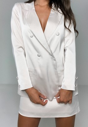 Missguided Tall Champagne Co Ord Satin Double Breasted Blazer
