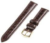 Republic Women's Crocodile Grain Leather Watch Strap 16mm Regular Length, Brown