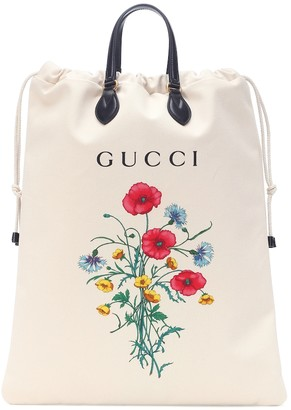 Gucci Leather-trimmed printed shopper
