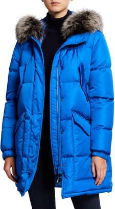 Yves Salomon Army By Fox Fur-Trim Hooded Puffer Coat