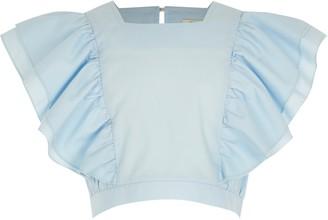 River Island Girls light Blue flutter sleeve poplin top