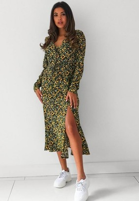 Missguided Yellow Floral Short Sleeve Midi Dress