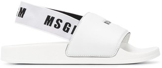 MSGM Logo Print Slingback Sandals