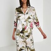 River Island Womens Cream satin tropical pyjama shirt