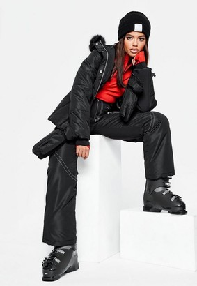 Missguided Black Ski Jacket With Mittens And Fanny Pack