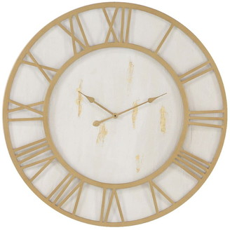 Willow Row Gold/White Rustic Wall Clock