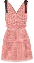 Self-Portrait Bow-detailed Guipure Lace Mini Dress - Pink