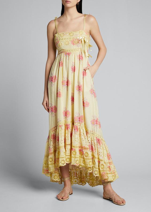 LoveShackFancy Vivi Printed Lace High-Low Dress