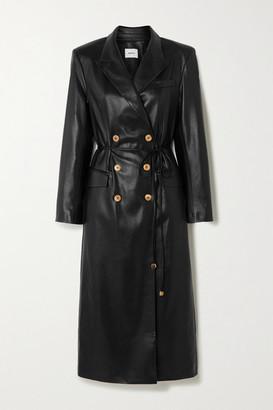 Nanushka Malina Belted Vegan Leather Trench Coat - Black