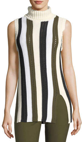 Derek Lam 10 Crosby Sleeveless Striped Knit Turtleneck Sweater