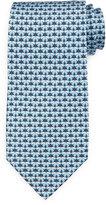 Salvatore Ferragamo Butterfly-Print Silk Tie, Blue/Gray
