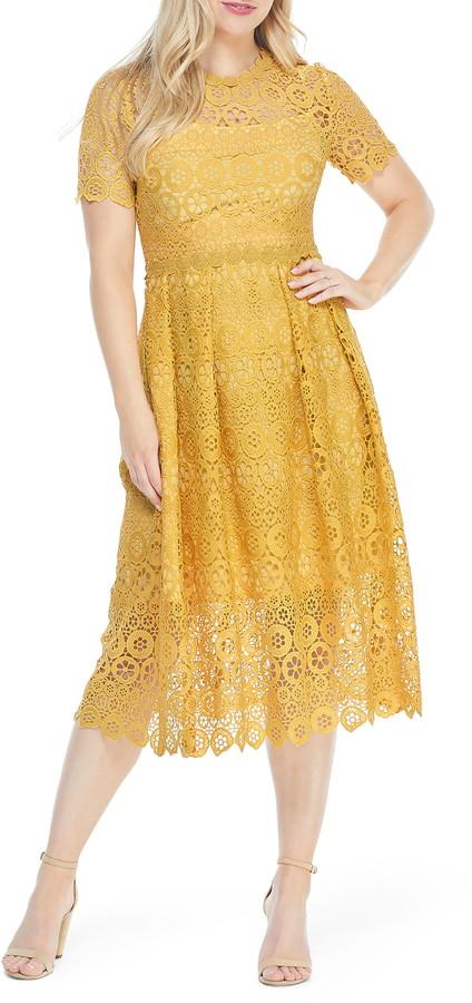 Maggy London Crochet Lace Midi Dress