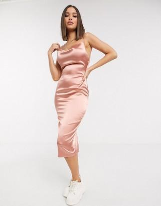 Parisian satin cami midi dress in blush pink