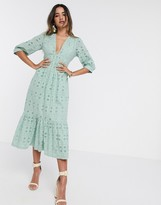 Asos Design DESIGN broderie midi dress with rope lace up back in sage green