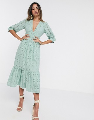 ASOS DESIGN broderie midi dress with rope lace up back in sage green