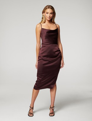 Forever New Laura Satin Cowl Ruched Midi Dress - Wine - 10