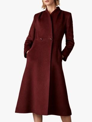 The Fold Finchley Wool Blend Wrap Coat, Burgundy
