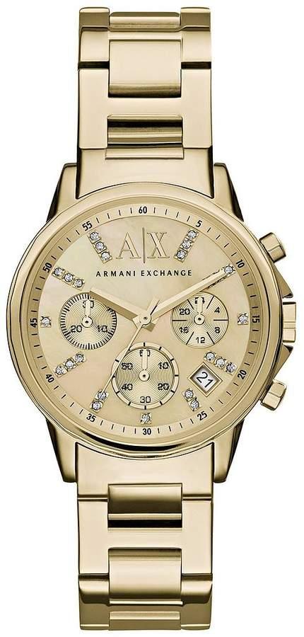 Armani Exchange Gold Tone Dial Chronograph Gold Tone Bracelet Ladies Watch