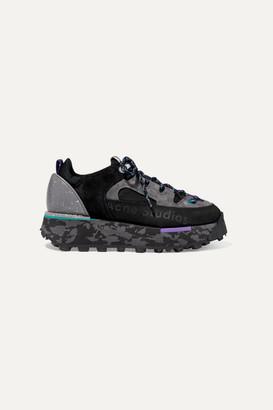Acne Studios Printed Leather, Suede And Neoprene Sneakers - Black