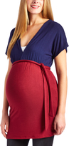 Glam Burgundy & Navy Surplice Maternity Tunic