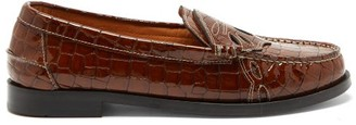 Ganni Crocodile-effect Patent-leather Penny Loafers - Brown