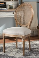 Wholesale Interiors Adelia French Vintage Cottage Weathered Oak Finish Wood and Beige Fabric Upholstered Dining Chair