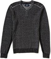 Buffalo David Bitton Marled Waffle-Knit Henley Sweater