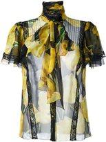 Dolce & Gabbana tulip print sheer shirt