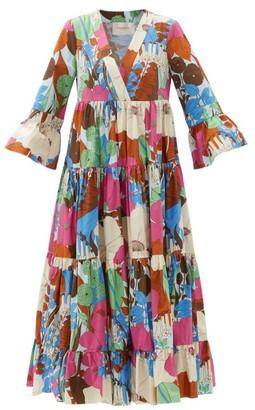 La DoubleJ Jennifer Jane Floral-print Cotton Midi Dress - Blue Print