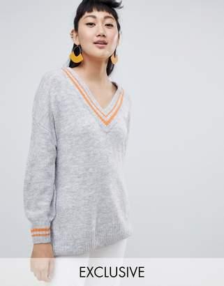 Monki deep v neck jumper in grey