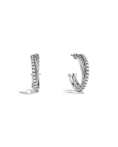 David Yurman Small Crossover Hoop Earrings with Diamonds