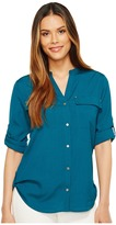 Calvin Klein Crew Neck Roll Sleeve Women's Blouse