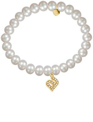 Jane Basch 14K Diamond & 6Mm Pearl Initial Stretch Bracelet (A-Z)