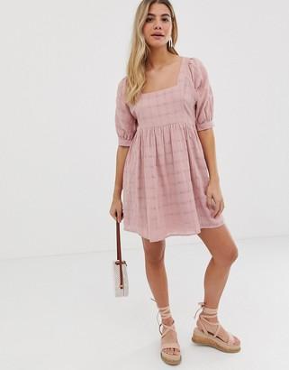 Asos DESIGN mini smock dress in textured check