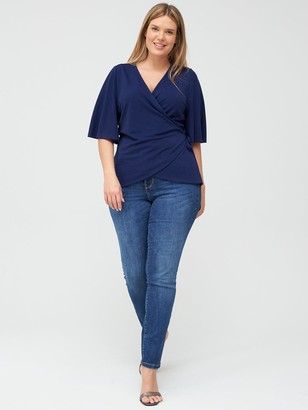 V By Very Curve Jersey Wrap Top