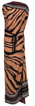 Roberto Cavalli Paneled Stretch-knit And Zebra-print Silk-crepe Maxi Dress