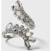 Dorothy Perkins Womens Baggette Stone Wrap Ring- Clear