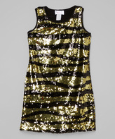 Dimples Gold Sequin Sheath Dress - Girls