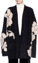 MS MIN Floral intarsia oversized cardigan