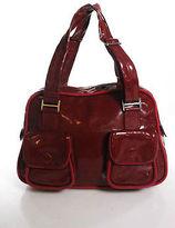 Stella McCartney Red Vinyl Double Strap Large Shoulder Handbag In Dust Bag