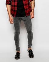 Cheap Monday Jeans Him Spray Super Skinny Fit Fail Black Acid - Black