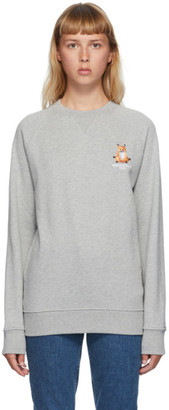 MAISON KITSUNÉ Grey Lotus Fox Sweatshirt