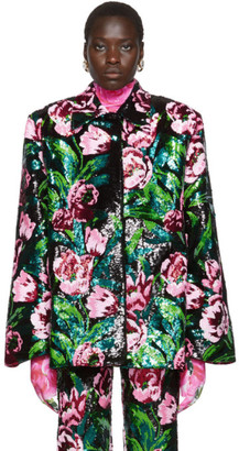 Richard Quinn Black Floral Embellished Jacket