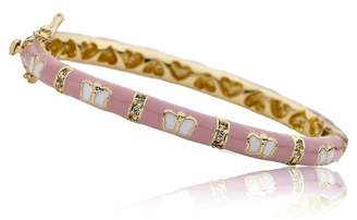 """Little Miss Twin Stars """"Outfit Makers"""" 14k Gold-Plated Enamel Bangle Bracelet with Cubic Zirconia Lines and White Butterflies"""