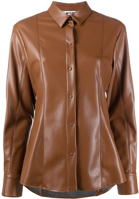 MSGM Faux Leather Fitted Shirt