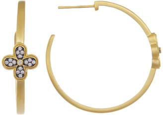 Freida Rothman 14K Gold Plated Sterling Silver CZ Pave Clover 32mm Hoop Earrings
