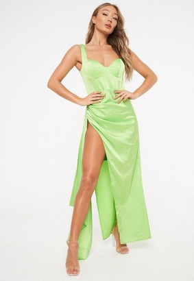 Missguided Green Satin Bust Cup Draped Gown