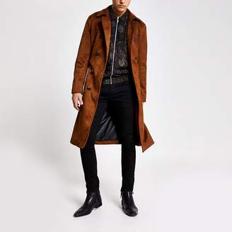 River Island Smart Western brown faux suede belted trench
